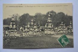 """CHATILLON-sur-SEINE-pyramide Par La """"jeanne D'arc De Dijon""""-fete Congres 16 Mai 1909-MAUVAIS ETAT(decollement)-voir Scan - Chatillon Sur Seine"""