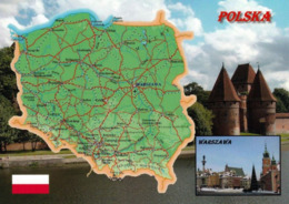 1 Map Of Poland * 1 Ansichtskarte Mit Der Landkarte Von Polen * - Landkaarten