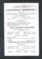 """UITNODIGING GEMEENTE MOORSEL """"LUISTERRIJK AVONDFEEST"""" - """"HET LAATSTE OORDEEL"""" - 11 FEBRUARI 1912  (OD 104) - Programas"""