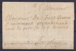 """L. Datée 19 Décembre 1715 De HUY Pour Baron D'Andrimont Dans La Paroisse De St-Servais à LIEGE - Man. """"par Amis Que Dieu - 1714-1794 (Pays-Bas Autrichiens)"""