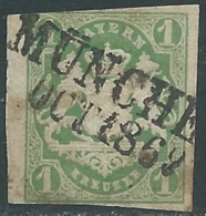 1867-68 GERMANIA ANTICHI STATI BAVIERA USATO STEMMA 1 K - RB18-9 - Bayern