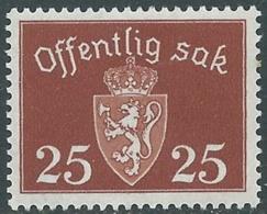 1937 NORVEGIA SERVIZIO 25 CENT MNH ** - RB16-3 - Service