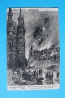 CPA Carte Postale Ancienne LOUVIN L'Hôtel De Ville Occupé Destruction De La Cathédrale - Landkaarten
