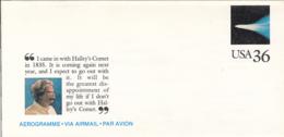 7382FM- HALLEY COMET, MARK TWAIN, ASTRONOMY, AEROGRAMME, 1985, USA - Astronomy