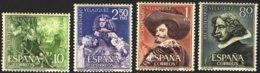 """1961-(MNH=**) Spagna S.4v.""""3 Centenario Velasquez, Quadri"""" - 1931-Today: 2nd Rep - ... Juan Carlos I"""