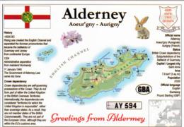 1 Map Of Island Alderney Channel Islands * Landkarte Der Insel Alderney Mit Flagge Und Weiteren Informationen Zur Insel - Landkaarten