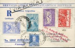 48332 Argentina,transatlantic Flight Zeppelin Registerd 6.abr.1932 To Germany Magdebrg Via Bodensee (2 Scan) - Luftpost