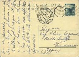 1949-cartolina Postale L.15 Fiaccola Con Annullo D'arrivo S.Severo-Foggia E Timbro Del Portalettere - 6. 1946-.. Republic