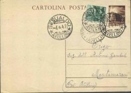1947-cartolina Postale L.3 Fiaccola Con Affrancatura Aggiunta L.1 Democratica Con Annullo Di Gesualdo-Avellino - 6. 1946-.. Republic
