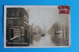CPA Carte Postale Ancienne PARIS INONDE Quai De La Rapée Carte Couleur Sépia AHK Timbrée 1910 - Landkaarten