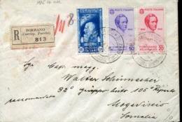 48333 Italia,cover Rgistred From Bolzano To Mogadiscio 6.nov1935 With 2 Stamps Music Composer Vincenzo Bellini - Music
