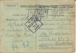 Précurseur Prisonnier De Guerre 1941 Franchise Postale Stalag XII B FRANKENTHAL + Censure Kriegsgefangenenpost - Marcophilie (Lettres)