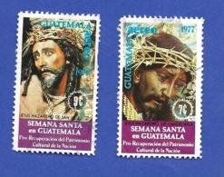 GUATEMALA 1977 SEMANA SANTA EN GUATEMALA 2 TIMBRES OBLITÉRÉS - Guatemala