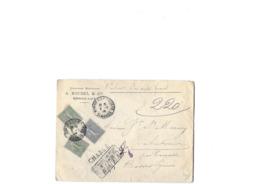 Lettre Chargé De Bordeaux , Semeuse Lignée De 15cX2 + Le 25c , Obl Manuelle Type 04 En Date Du 02.07.1906 TB - 1903-60 Semeuse A Righe
