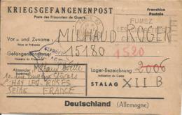 Enveloppe Précurseur Prisonnier De Guerre 1941 Franchise Postale Stalag XII B FRANKENTHAL + Censure Kriegsgefangenenpost - Marcophilie (Lettres)