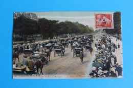 CPA Carte Postale Ancienne PARIS XVI L'Avenue Du Bois De Boulogne Le Retour Des Courses Carte Colorisée Timbrée 1909 - Landkaarten