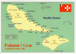 1 Map Of Wallis And Futuna * 1 Ansichtskarte Mit Der Landkarte Von Den Inseln Futuna Und Alofi Und Mit Der Flagge * - Landkaarten