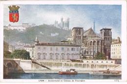 34302. Postal LYON (Rhone) Archeveche Et Coteau  De Fourviere. Iglesia - Lyon
