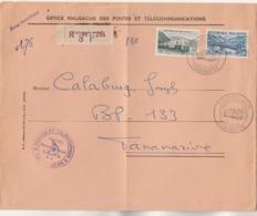 Madagascar Yvert 360 Et 361 Sur Lettre Recommandée Tananarive RP SP 256 Du 1/2/1962 Pour EV - Voir Description - Madagascar (1960-...)