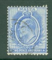 Malta: 1904/14   Edward   SG53    2½d   Bright Blue  Used - Malta (...-1964)