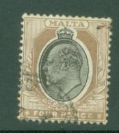 Malta: 1904/14   Edward   SG54    4d   Black & Brown  Used - Malta (...-1964)