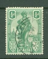 Malta: 1922/26   Emblem     SG124   ½d     Used - Malta (...-1964)