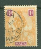 Malta: 1922/26   Emblem     SG125   1d   Orange & Purple  Used - Malta (...-1964)