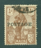 Malta: 1926   Emblem  'Postage' OVPT     SG143   ¼d     Used - Malta (...-1964)