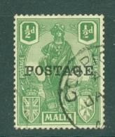 Malta: 1926   Emblem  'Postage' OVPT     SG144   ½d     Used - Malta (...-1964)
