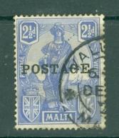 Malta: 1926   Emblem  'Postage' OVPT     SG148   2½d     Used - Malta (...-1964)