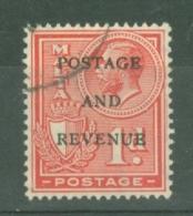 Malta: 1928   KGV 'Postage & Revenue' OVPT    SG176   1d    Rose-red   Used - Malta (...-1964)