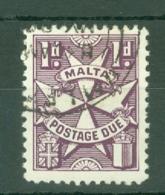Malta: 1953/63   Postage Due  SG D22a    1d   Deep Purple   Used - Malta (...-1964)