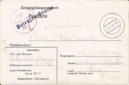 Formulaire Prisonnier De Guerre 1941 Franchise Postale Stalag XII C WIEBELSHEIM + Censure Kriegsgefangenenpost - Marcophilie (Lettres)