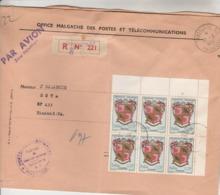 Madagascar Yvert 389 Bloc De 6 Armoiries Lettre Recommandée Tananarive RP SP 221 Du 1/5/1964 Pour EV - Voir Description - Madagascar (1960-...)