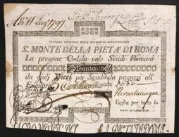 SACRO MONTE DI PIETA' ROMA 22 09 1795 38 SCUDI Ottimo Esemplare Bb+  LOTTO 2964 - [ 1] …-1946 : Royaume