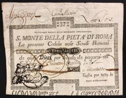 SACRO MONTE DI PIETA' ROMA 22 09 1795 37 SCUDI Ottimo Esemplare Bb+ R2 LOTTO 2965 - Non Classificati