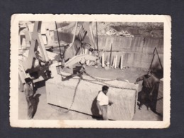 Photo Originale Le Javot Travaux Construction Grue Bloc De Pierre - Métiers