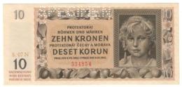 BOHEMIA & MORAVIA10KORUN08/07/1942P8UNCSPECIMEN.CV. - Czechoslovakia