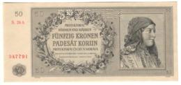 BOHEMIA & MORAVIA50KORUN25/09/1944P10UNCSPECIMEN.CV. - Czechoslovakia