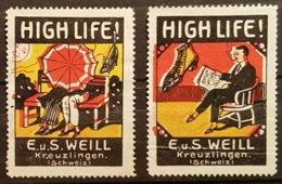 2 Vignettes Anciennes - KREUZLINGEN - E. U S. WEILL - High Life !      /Suisse/V22a - Cinderellas