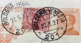 AMBULANTE BOLOGNA-VENEZIA  * 201 * 27/5/27  SU CARTOLINA POSTALE PER PADOVA - 1900-44 Vittorio Emanuele III