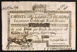 SACRO MONTE DI PIETA' ROMA 01 05 1797 34 SCUDI Ottimo Esemplare Bb+ Forellini Rara LOTTO 2966 - [ 1] …-1946 : Regno