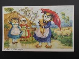 """Chats Habillés Illustrant Comptine """"Il Pleut, Il Pleut Bergère..."""" - Katten"""