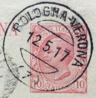 AMBULANTE BOLOGNA-VERONA (7) 12/5/17  SU CARTOLINA POSTALE DA GONZAGA A SUZZARA - 1900-44 Vittorio Emanuele III