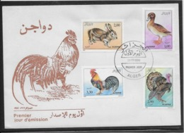 Thème Animaux - Lapin, Coq, Dinde, Canard - Algérie - Enveloppe - Ferme