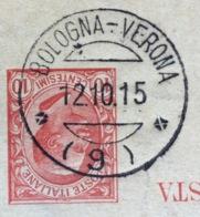 AMBULANTE BOLOGNA-VERONA (9) 12/10/15  SU CARTOLINA POSTALE-RISPOSTA  DA BELFORTE A BOLOGNA - 1900-44 Vittorio Emanuele III