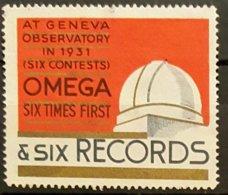 Vignette Ancienne - 1931 - GENEVE Observatory - OMEGA Six Records  (six Contests)  /Observatoire Astronomie /Suisse/V22b - Erinnophilie