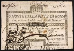 SACRO MONTE DI PIETA' ROMA 01 05 1797 32 SCUDI Ottimo Esemplare Bb+ Taglietto Rara LOTTO 2967 - Non Classificati