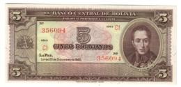BOLIVIA5BOLIVIANOS20/12/1945P138UNCNo Overprint - 138A.CV. - Bolivia