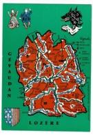 Contour Géographique Illustré Jean-Louis Castagnier - Gévaudan, Lozère, Blason - Pas Circulé - Carte Geografiche